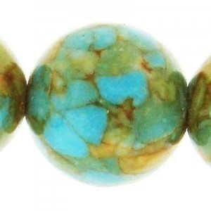 16mm Natural Blue Turquoise (Stabilized) Smooth Round Bead 16 Inch Strand
