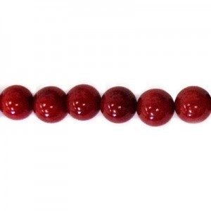 10mm Red Coral (Dyed) Smooth Round Bead 16 Inch Strand (Approx. 40 Beads)