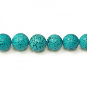 16mm Magnesite (Dyed/Stabilized) Turquoise Smooth Round Bead 16 Inch Strand (Approx. 25 Beads)
