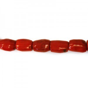15-19mm Red Coral (Dyed) Barrel Bead 16 Inch Strand (Approx. 24 Beads)