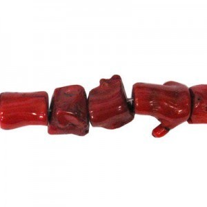 12-40mm Red Coral (Dyed) Branch Bead 16 Inch Strand