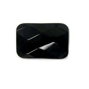30x20mm Black Glass Faceted Rectangle Bead 16 Inch Strand (Approx. 14 Beads)