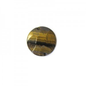 12mm Tiger Eye Faceted Coin 16 Inch Strand (Approx. 34 Beads)