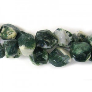 Approx 20x15 Moss Agate Hand Chipped Oval Irregular Nugget Bead 30 Beads Per Strand