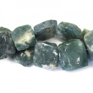 Approx 19mm Moss Agate Hand Chipped Square Bead 20 Beads Per Strand