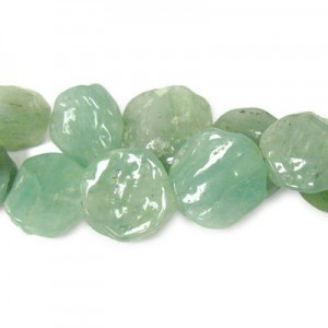 Approx 20mm Green Aventurine Hand Chipped Coin Bead 30 Beads Per Strand