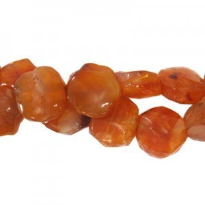 Approx 20mm Carnelian Hand Chipped Coin Bead 30 Beads Per Strand