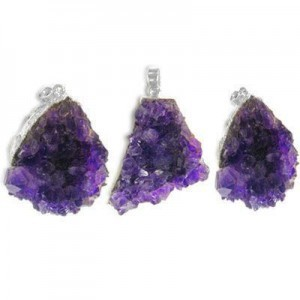 28x23-43x38mm Amethyst Druze Pendant W/ Silver Plated Bail 3 Pcs