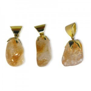 21x16-28x16mm Citrine Smooth Nugget Pendant W/ Gold Plated Bail 5 Pcs
