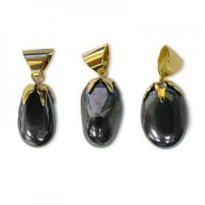 21x16-28x16mm Hematite Smooth Nugget Pendant W/ Gold Plated Bail 5 Pcs