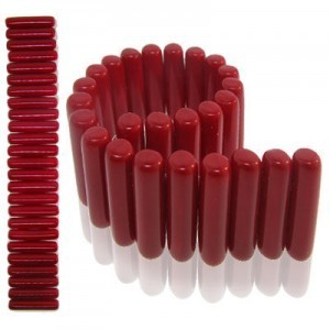 7x25mm Blood Red 2-Row Czech Glass Spacer Bar - 7 Inch Strand (Apx 26 Pcs)