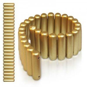 7x25mm Matte Gold 2-Row Czech Glass Spacer Bar - 7 Inch Strand (Apx 26 Pcs)