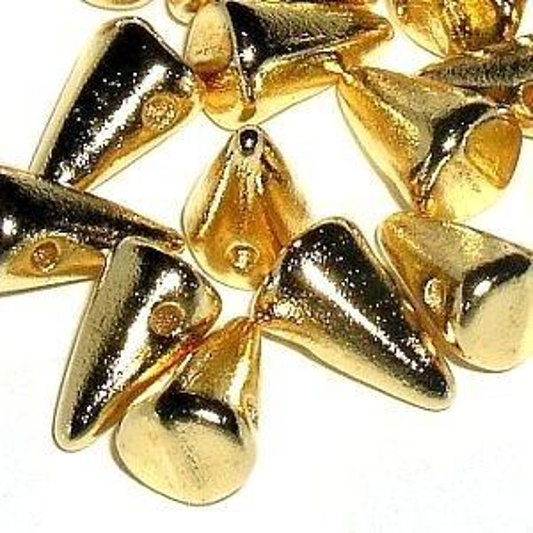 4x7mm-5x8mm 24k Real Gold Plate Czech Handmade Glass Baby Spikes