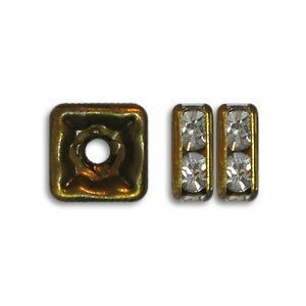 4.5x4.5mm Crystal on Antique Brass Czech Rhinestone Squaredelles