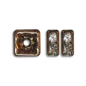 4.5x4.5mm Crystal on Antique Copper Czech Rhinestone Squaredelles
