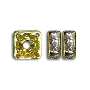 4.5x4.5mm Crystal on Gold Rhinestone Squaredelles