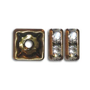 6x6mm Crystal on Antique Brass Rhinestone Squaredelles