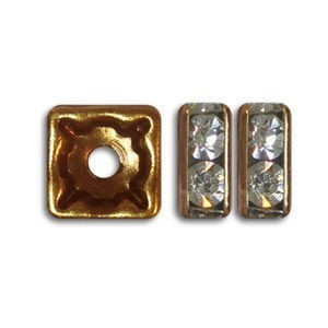 6x6mm Crystal on Antique Copper Czech Rhinestone Squaredelles