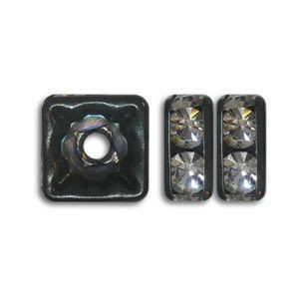 6x6mm Crystal on Black Rhinestone Squaredelles