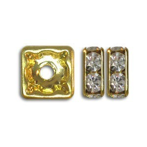6x6mm Crystal on Gold Rhinestone Squaredelles