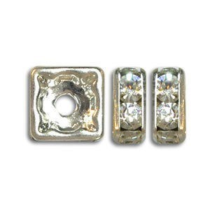 6x6mm Crystal on Silver Rhinestone Squaredelles