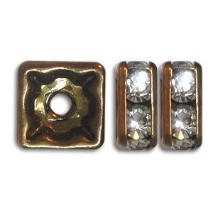8x8mm Crystal on Antique Brass Rhinestone Squaredelles