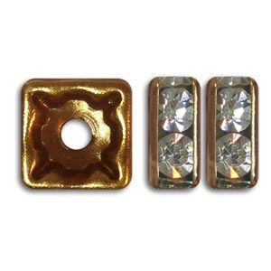 8x8mm Crystal on Antique Copper Czech Rhinestone Squaredelles