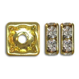 8x8mm Crystal on Gold Rhinestone Squaredelles