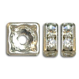 8x8mm Crystal on Silver Rhinestone Squaredelles