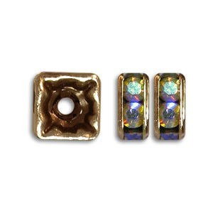 4.5x4.5mm Crystal AB on Antique Copper Czech Rhinestone Squaredelles