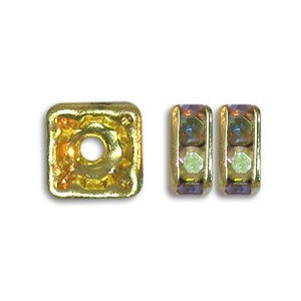 4.5x4.5mm Crystal AB on Gold Rhinestone Squaredelles