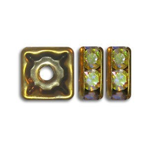 6x6mm Crystal AB on Antique Brass Rhinestone Squaredelles