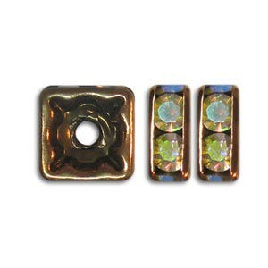 6x6mm Crystal AB on Antique Copper Czech Rhinestone Squaredelles