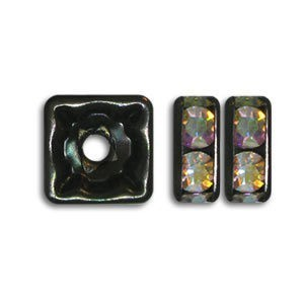 6x6mm Crystal AB on Black Rhinestone Squaredelles