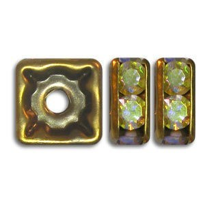 8x8mm Crystal AB on Antique Brass Rhinestone Squaredelles