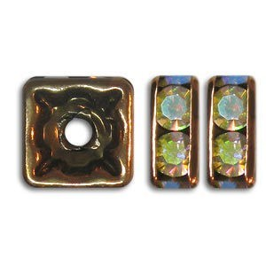 8x8mm Crystal AB on Antique Copper Czech Rhinestone Squaredelles