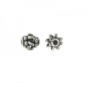 7x6mm Beaded Tube Bead Bali Style Sterling Silver 10pcs