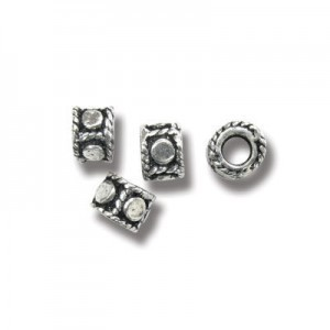 4.5x5.5mm Beaded Ring (1mm Hole Size) Bali Style Sterling Silver 20pcs