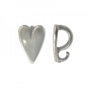 9mm Heart Pendant Bail W/ Hidden Loop Sterling Silver .925 10 Pcs
