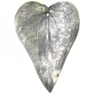 Large 60mm -1mm Hole Silver Plated Shiny Natural Prickly Ivy Leaves 1 Pcs