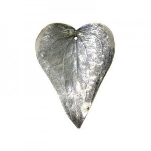 Medium 50mm -1mm Hole Silver Plated Shiny Natural Prickly Ivy Leaves 1 Pcs