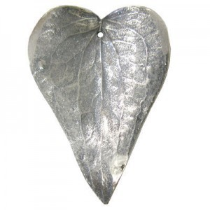 Large 60mm -1mm Hole Silver Plated Matte Natural Prickly Ivy Leaves 1 Pcs