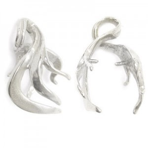 22mm Flame Design Pinch Bail W/ Loop Sterling Silver .925 5 Pcs