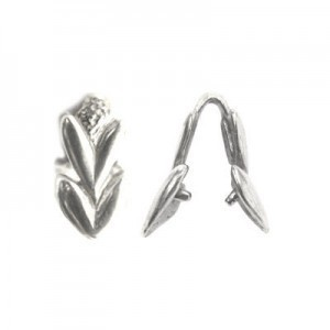 15mm Heart Shaped Leaves Pinch Bail Sterling Silver .925 5 Pcs