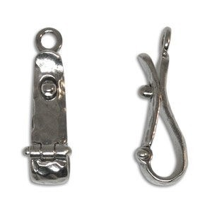 20mm Hammered Lock in Bail Sterling Silver .925 2 Pcs