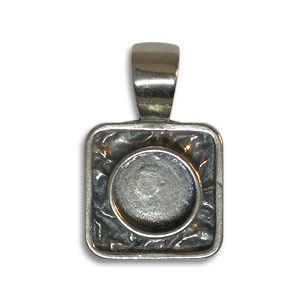 17mm Square Pendant for 5mm Cabochons Sterling Silver .925 2 Pcs
