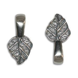 18mm Leaf Bail for Gluing Sterling Silver .925 6 Pcs