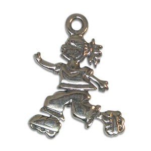 16mm Rollerblading Girl Charm Sterling Silver .925 5 Pcs