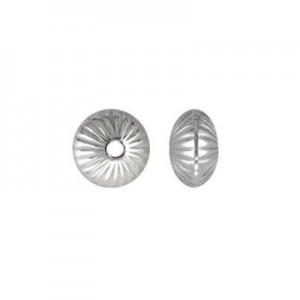 8.9x5.6mm Corrugated Saucer (1.8mm Hole) Sterling Silver .925 20pcs