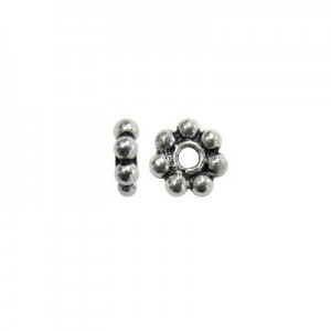 8mm Beaded Rondelle Bali Style Sterling Silver 20pcs